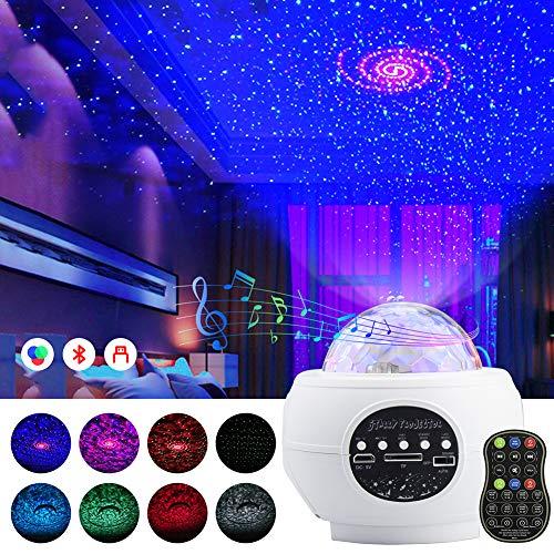 Sternenprojektor Nachtlicht, Geschenke für 1–14 Jahre alte Mädchen und Jungen Baby Nachtlicht Mond Stern Projektor mit 8 bunten Lichtern für Baby Kinderzimmer Schlafzimmer Dekoration weiß
