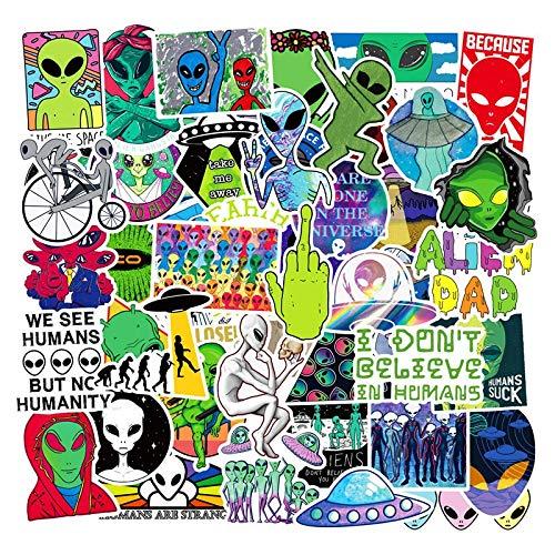 50Pcs Cool Vinyl Alien Stickers Children Toy UFO Graffiti Sticker Pack For Skateboard Laptop Luggage Guitar Bike Helmet Decals