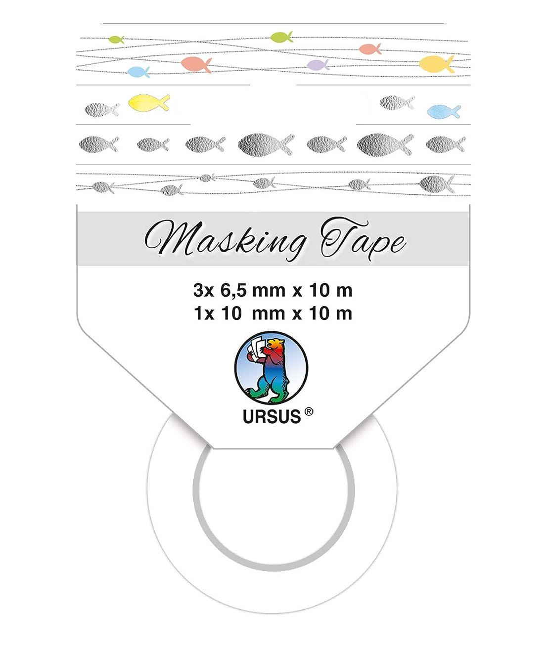 Ursus 58850008F Masking Tape Fish 4 Rolls Multi-Coloured