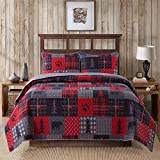 Soul & Lane Cabin Charm Bedding Quilt Set - Twin with 1 Sham | Cabin Lodge Quilted Bedspread | Country Quilt