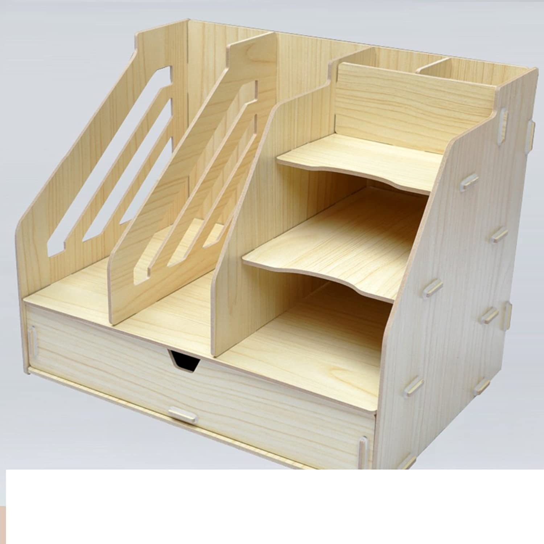 Bookshelf,Office Supplies Desktop Storage Box Drawer Type Bookcase Creative Bookshelves File Data Rack Stationery Rack Wooden-F 33x24x30cm(13x9x12)