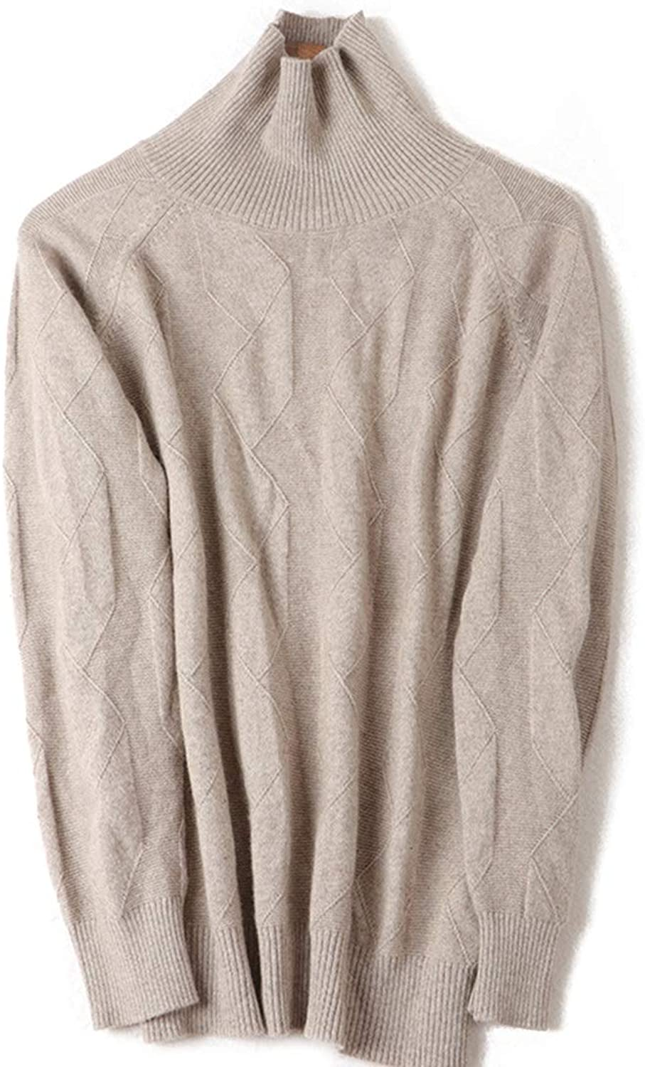 CEFULTY Women's Warm Knit Sweater Cashmere High Collar Long Sleeve Size MXL