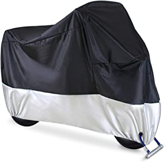 Motorcycle Cover, Ohuhu All Season Waterproof Snowproof Motorbike Covers with Lock Holes, Fits up to 108