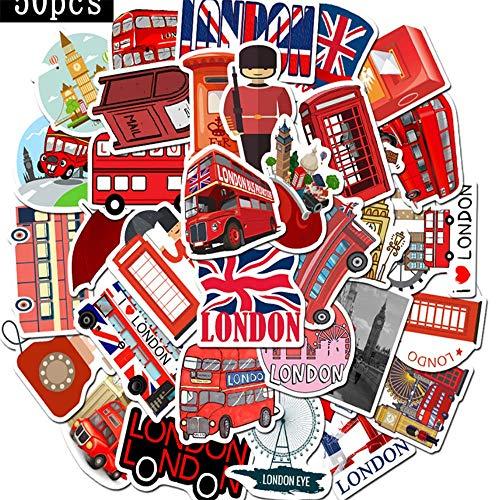 SSQ Etiqueta engomada de la Etiqueta engomada de Londres de la Cabina del teléfono del autobús Rojo PVC Graffiti calcomanía para el Caso de la Maleta Equipaje Guitarra 50 Uds
