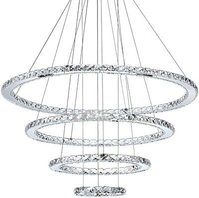 YANQING Moderno Araña, luz con Mando a Distancia Regulable de 4 Anillos de araña de Cristal Individual Salón Dormitorio Comedor Luz (20 + 40 + 60 + 80 cm) A ++