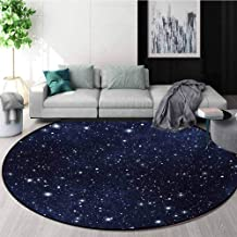 RUGSMAT Night Area Rugs, Star Filled Dark Sky Vivid Celestial Theme Cosmos Galactic Cluster Constellation Shape Large Roun...