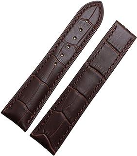 NUEVO oro de 18 mm Correa de piel color marrón hebilla de despliegue de banda Tapa para