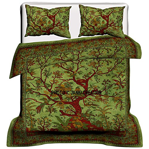 Indian Tree Of Life Cotton Queen Duvet Cover Quilt Cover Bohemian Hippie Bedspread Quilt Handmade Duvet Cover With Pillow Cover (Green) 80X82 Inches,Bohemian Bed Set , Boho duvet cover with pillowcase