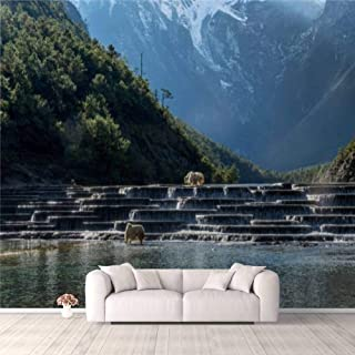 Modern 3D PVC Design Removable Wallpaper for Bedroom Living Room Blue moon Valley and the yak Wallpaper Stick and Peel Wal...