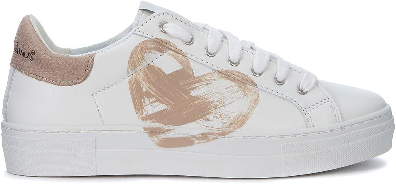 Nira Rubens Woman's Martini White Leather Sneakers with Beige Heart