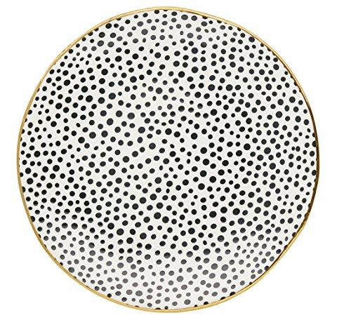 GreenGate Assiette plate en porcelaine à pois Noir/doré