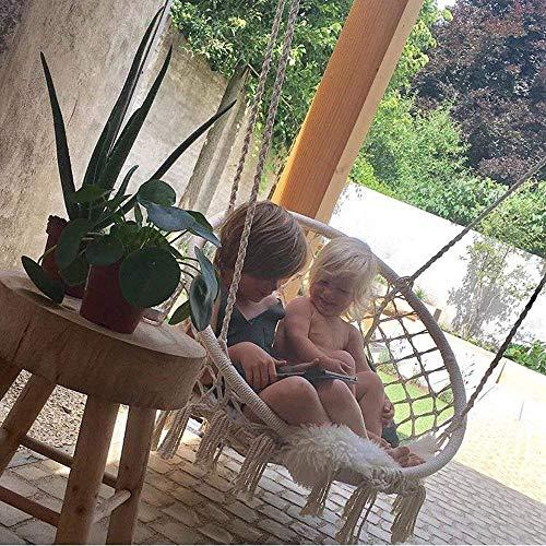 Mertonzo Hängesitz & Hängesessel, Gestrickt von Baumwollseil mit romantischen Fransen Hängematte Swing Sessel für Drinnen/Draußen 120KG Kapazität (Hängemattenhalter und Kissen sind Nicht Enthalten) - 6