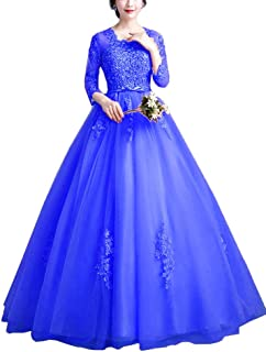 Women's Crew Neck Tulle Long Evening Gowns Appliques 3/4 Sleeve Quinceanera Puffys Dresses