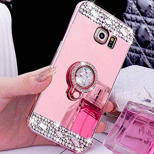 Cover Galaxy S3,Cover Galaxy S3 Neo,ikasus [supporto ad anello] Lucido cristallo scintillio strass Diamante Glitter Placcatura specchio Custodia Gel Morbida Silicone TPU Custodia Cover,Oro rosa