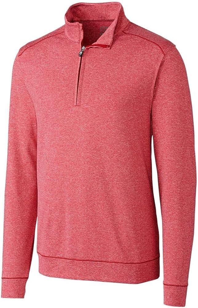 Cutter & Buck CB Drytec Shoreline Half-Zip Pullover, Cardinal Red Heather, 3XLT