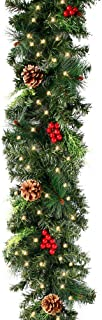 2.7 M Pre-lit Christmas Garland, Artificial Garlands Decorated Green Pine Illuminated with LED Light Pine Cone Red Berry B...
