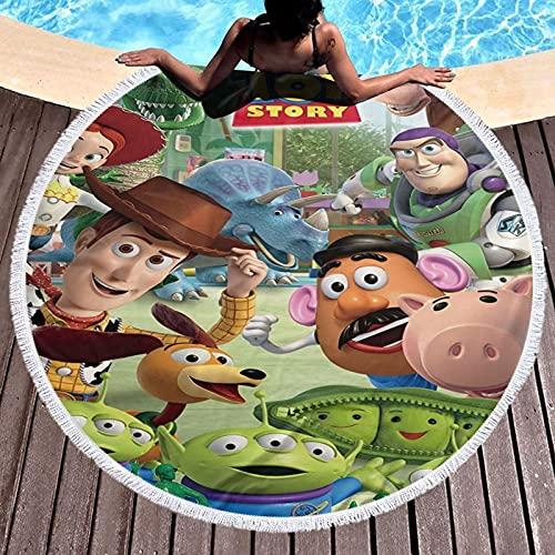 Cute Pillow Toy Story Toalla de playa para niñas y mujeres, manta redonda ultra suave, grande, toallas de baño de 152 cm para viajes, playa, baño, picnic, apto para niños con temática de cumpleaños