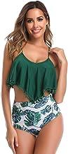 URIBAKY Top con Borla De Las Mujeres Y Ropa Interior Impresa Bikini Acolchado BañAdo De Cuerpo Dividido Ropa De Playa