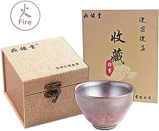 Yan Hou Tang - Fire JianZhan Tenmoku Solo Oriental Kung Fu Tea Cup Bowl - Phoenix Scales Pattern Pink Rose Golden 5 Elements China Taiwan Feng Shui Crafts Designer Collection Ancient Style Work Hand