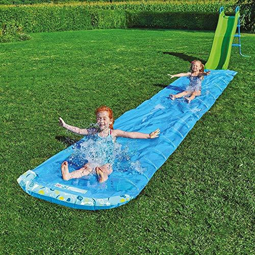 LONYKIBEE Water Slide Mat Large Slip N Slide Giant Lawn Water Slide For Kids Adult, Single Water Sliding 33ft Long Waterslide Surfboard Garden Toys With 2pcs Inflatable Swim Ring for Pool.