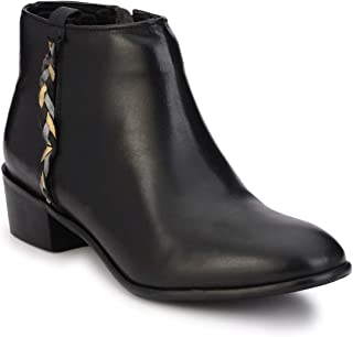 Delize Black Genuine Leather Ankle Boots for Women's