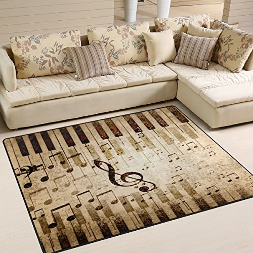 ALAZA Music Notes Piano Area Rug Rugs for Living Room Bedroom 7' x 5'