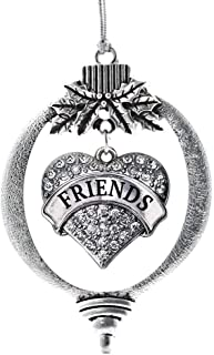 Inspired Silver - Best Friends Charm Ornament - Silver Pave Heart Charm Holiday Ornaments with Cubic Zirconia Jewelry