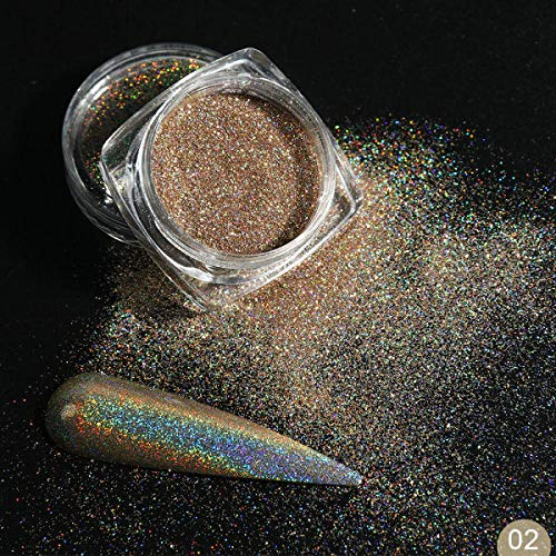 Poudre à ongles,Holographique Nail Powder Set Glitter Shimmer, Pigment Dust Laser Galactic Effect Dip pour Nail Art Decoration-I