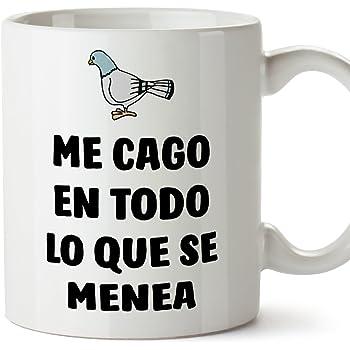 MUGFFINS Tazas Desayuno Originales con Frases motivadoras – Paloma: Me CAGO en Todo lo Que se menea - 350 ml: Amazon.es: Hogar