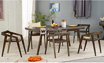 DriftingWood Dining Table 6 Seater | Dining Room Set with Six Chairs | Dinning & Kitchen Furniture | Sheesham Wood, Walnut Brown