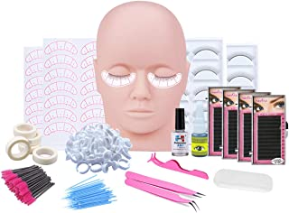 Eyelash Training Kit, Professional Eyelash Extension kit Mannequin Head Lip Makeup Eyelash Grafting Training Tool Kit Come...