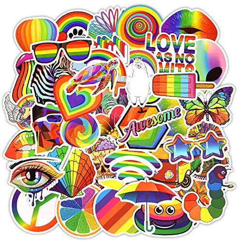 Colorful Rainbow Stickers Pack 50 Pcs Vinyl Decals for Water Bottle Laptop Suitcase Bumper Helmet Ipad Car Luggage
