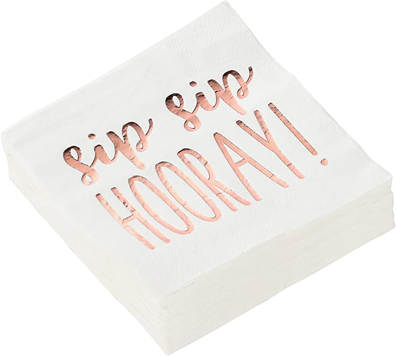 Cocktail Napkins 50 Pack Luncheon Napkins Disposable Paper Napkins Party Supplies 3 Ply Sip Sip Hooray Rose Gold Foil Print Unfolded 10 X 10 Inches Folded 5 X 5 Inches