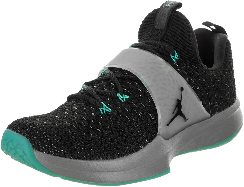 Jordan Nike Men's Trainer 2 Flyknit Black Cool Grey Hyper Jade Black Training shoes 9.5 Men US