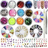 3D Nail Art Decoration Set,12 Colors Nail Art Flake Glitter Sequin for Nail Design, Resin, 4 Pack Acrylic Nail Rhinestones Accessories 4 Sheets Water Nail Decals Picker Pencil Tweezers (LUCK007X)