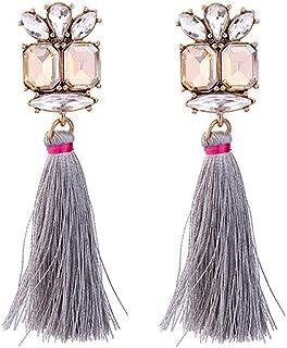 Colorful Long Tassel Drop Dangle Earrings Silk Fringe Thread Fan Hoop Earrings for Women Girls Bohemian Statement Christma...