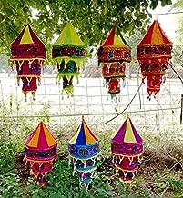 20 Pcs Mix Wholesale Lot Indian Handmade Cotton Fabric Lamp Shade Decorative Cotton Wedding Lantern Cover Handmade Elephant Embroidered Lanterns Collapsible