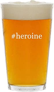 #heroine - Glass Hashtag 16oz Beer Pint