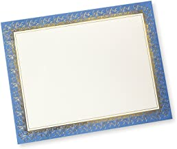 Blue & Gold Foil Certificate Paper - 15 Count