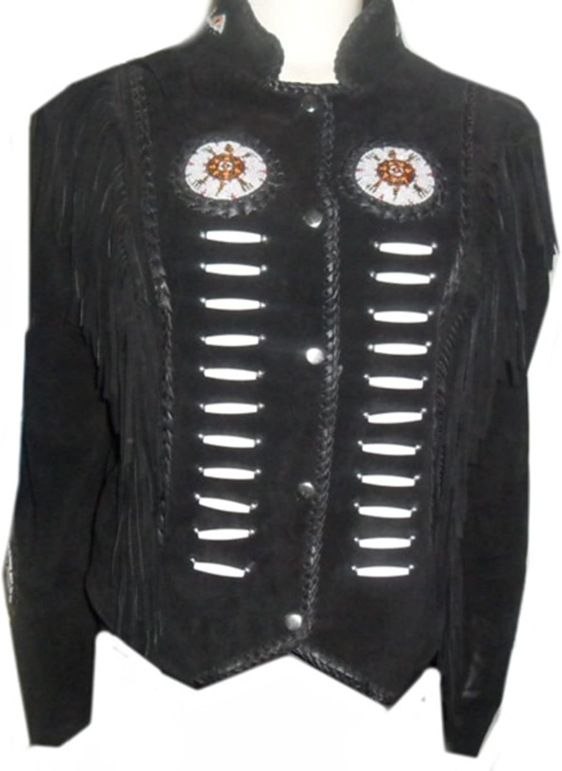 Classyak Women Western Leather Jacket with Fringes & Bones, Supreme Quality