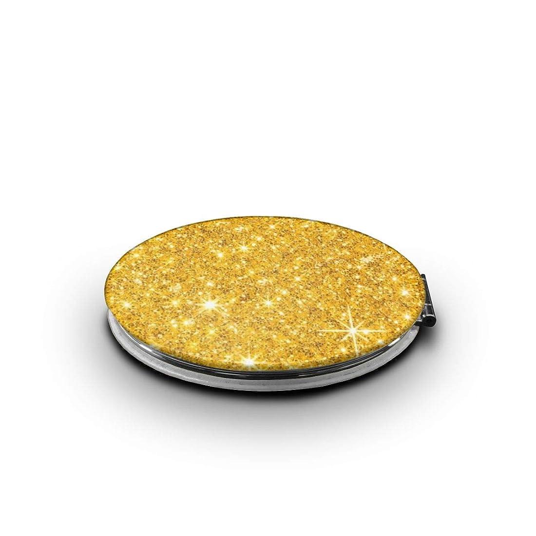 ソーダ水ポインタサイレン携帯ミラー ゴールド 金 輝きミニ化粧鏡 化粧鏡 3倍拡大鏡+等倍鏡 両面化粧鏡 楕円形 携帯型 折り畳み式 コンパクト鏡 外出に 持ち運び便利 超軽量 おしゃれ 9.0X6.6CM