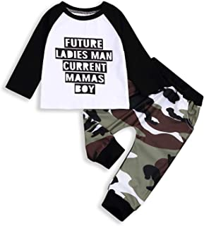 2PCS Baby Boys Fall Clothes Letter Long Sleeve T-Shirt Cool Tops+Camouflage Pants Outfit Set