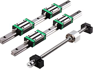 for CNC Routers GUWANJI 2Pcs Linear Guide Rail HGR20-300mm with 4Pcs HGH20CA Square Type Carriage Bearing Block Linear Rail Set Slide Guide Rod Overall Length 11.8 inch 300mm