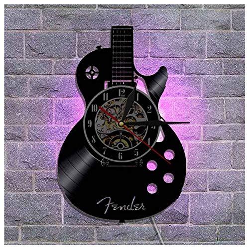 JFGX Guitarra CD LED Reloj de Pared de Vinilo Luminoso 12 Pulgadas Luz de Noche retroiluminada Lámpara Que Cambia de Color Relojes Reloj de Pared Sala de Estar Fresca Decoración Interior como Regalo