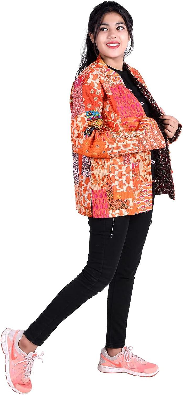 iinfinize Vintage Cotton Blazer Outdoor Jacket Patchwork Waistcoat Pocket Windbreakers Lightweight Jacket Active Hoodies Track Jacket Traditional Decorative Coat Size-XXL