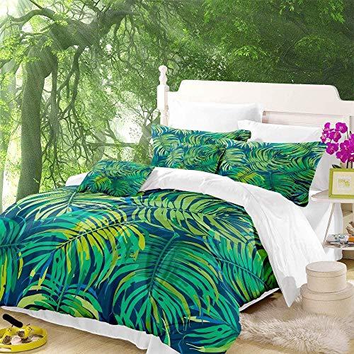 HKDGHTHJ® Edredón infantil Imagen creativa 3D Patrón de hoja de palma de vegetación de selva tropical 135x200 CM Juego de cama moderno Sábana plana Funda nórdica Funda de almohada Ropa de cama lateral