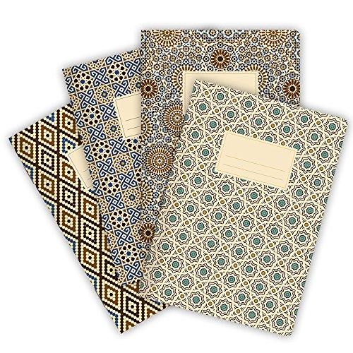 etmamu 530 4er-Set Notizhefte Muster Marokko A5, 32 Blatt liniert