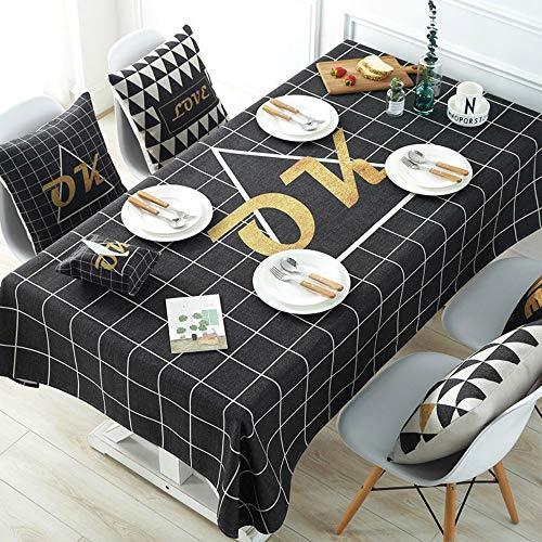 U/A 1 mantel rectangular lavable mesa de comedor cubierta negro y blanco a cuadros mantel sin arrugas en la cocina
