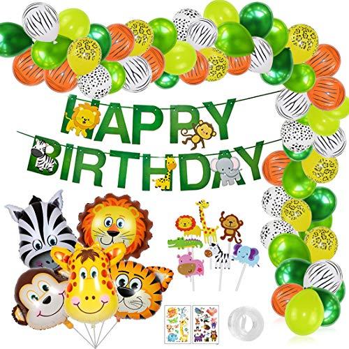 O-Kinee Dschungel Geburtstag Deko Junge, Dschungel Kindergeburtstag Deko, Safari Geburtstagsdeko, Happy Birthday Girlande, Luftballons Grün für Kinder Kindergarten Geburtstagsdeko (Grün)