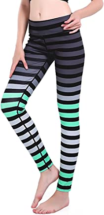 3fbb53133ee37 mwbay Womens Tapered Color Stripe Yoga Pants Knitted Leggings for Sport  Fitness Workout